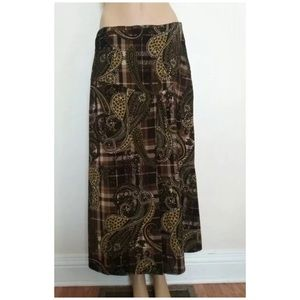 ❤️ 5/25 Cato paisley maxi skirt SZ 10 line A brown